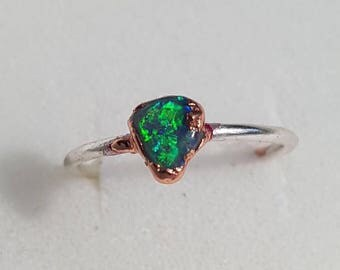 Natural Solid Black Opal Ring. Sterling silver & copper electroformed ring. Ring size P, US ring size 7 1/2