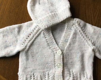 Baby Girls cardigan and hat set 0-3 months