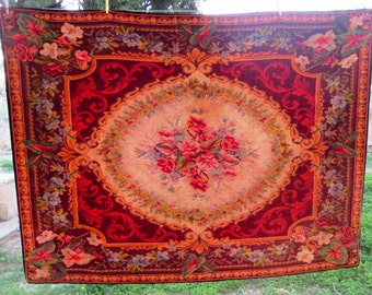 Antique Floral Tablecloth/table carpet/western Europe origin/ Victorian collectable item/rug beadspread/size 88,1x63 inches/FREE SHIPPING