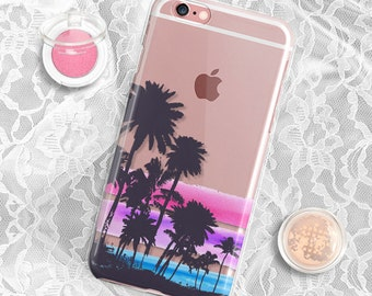 Clear iPhone 7 case Palm Rubber iPhone 6s case Clear iPhone 7 plus case iPhone 6s plus case Palm Tree iPhone 5S Case Clear Samsung S6 Case