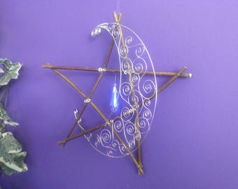 Willow Wood Pentacle Silver Spiral Crescent Moon Suncatcher, hanging decorative pagan pentacle