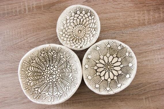 RamunesCeramic - Set of 3 ceramic rustic bowls | White fruit Bowl | Table decoration | Handmade pottery bowls | Decorative plates | Unique housewarming ... & RamunesCeramic - Set of 3 ceramic rustic bowls | White fruit Bowl ...