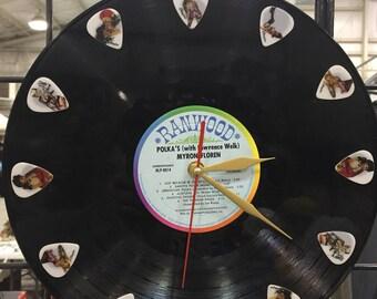 Pinup girls guitar pick Vinyl Record Clock