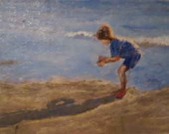 Boy at Beach Miniature Impressionist, Abstract Art