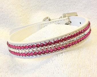 Rhinestone Dog Collar, Swarovski Fuchsia Pink Dog Collar,  Medium White Bling Collar with Rhinestone Buckle
