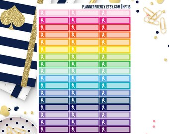 51 Itty Bitty Square Woman Running Planner Stickers! HF113
