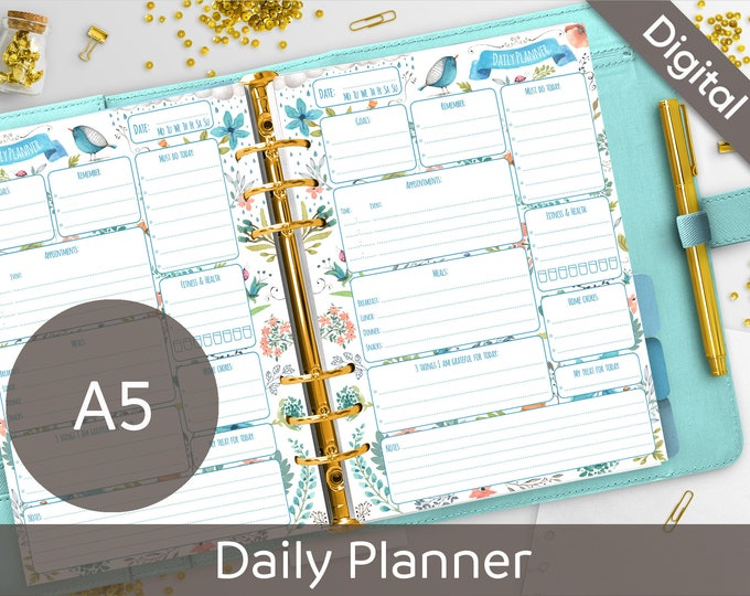 picture relating to Diy Daily Planner known as A5 Everyday Planner Printable, Filofax A5 printable refills, Every day Agenda, Foods, Toward Do, Arinne Blue Chicken Do-it-yourself Planner PDF Prompt Obtain