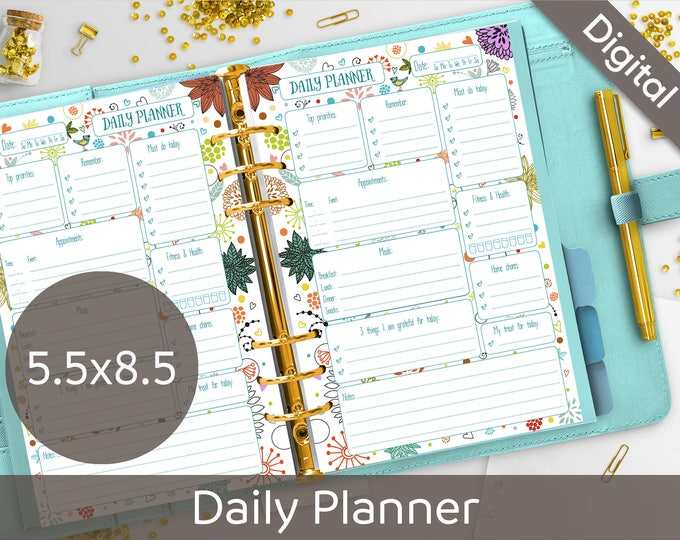 5.5 x 8.5 Daily Planner Printable, Half size printable refills, Half Letter, Syasia Cute Floral Day Organizer, DIY PDF Instant Download