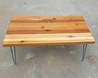 urban rustic furniture. industrial farmhouse coffee table with solid reclaimed cedar top and metal hairpin legs fixer upper urban rustic furniture