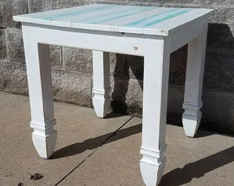 Reclaimed wood end table - rustic table - white distressed end table - rustic side table - farmhouse furniture