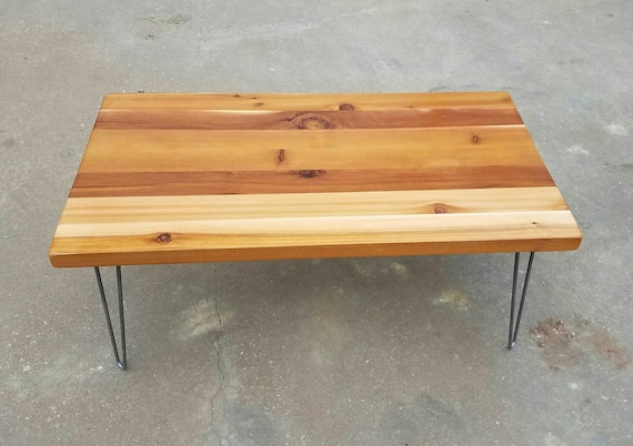 Industrial farmhouse coffee table with solid reclaimed cedar for Industrial farmhouse coffee table