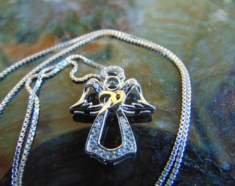 Beautiful, Delicate Little Sterling Silver Angel Pendant with Gold and Diamond Enhancement on Sterling Silver Chain