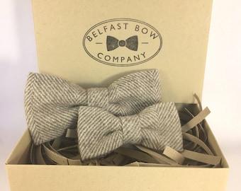 Handmade Father & Son Bow Tie Gift Set in Tweed Herringbone