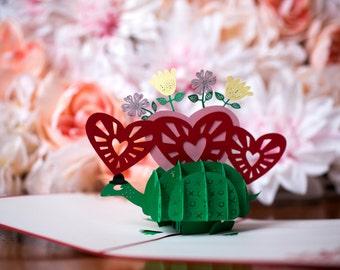 Valentine's Day Pop Up Card, Valentine's Day Card, Turtle Card, Romance Card, Love Turtle Pop Up Card, Turtle Pop Up Card, Love Turtle Card