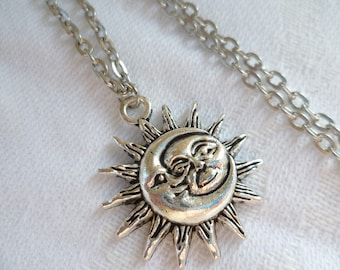 Sun and moon necklace, moon and sun,charm necklace.moon necklace,sun necklace,celestial,wiccan jewelry,pagan,gift,pendant, moon,sun jewelry