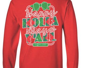 Christmas Shirt, Monogram Christmas Tee, Southern Darlin, Like Simply Southern Long Sleeve, Long Sleeve Southern, Holla Y'all, Happy Holla,