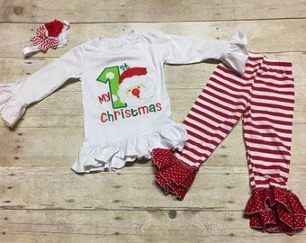 My 1st Christmas Outfit Embroidery Applique, Girls My 1st Christmas Outfit, Baby's First Christmas,Kids Christmas Applique