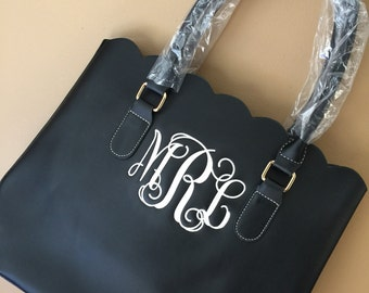 Personalized Monogrammed Black Faux leather scalloped bag, scalloped tote, scalloped purse, Graduation Gift