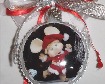 Topo Gigio inspired tribute Glass Christmas Ornament