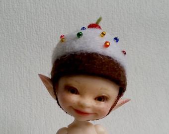 "OOAK Felted hat ""Capkake"" for Realpuki - Realpuki hat - Realpuki clothes"