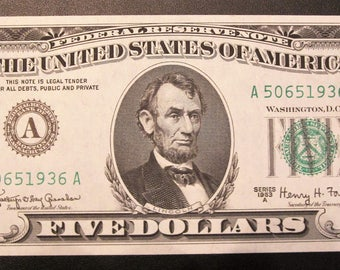 1963-A Five Dollar Federal Reserve Note A 50651936 A
