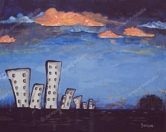Contemporary art city clouds blue orange sky art print artwork canvas buildings wall art painting home decoration twilight dusk landscape
