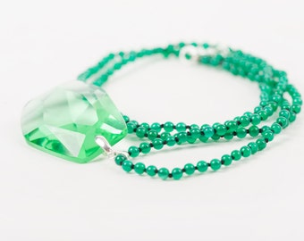 Green crystal necklace, green necklace,Chrysoprase, Czech crystal, vintage crystal necklace, wedding, vintage bohemian crystal, woman