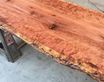 One Of A Kind Cookied Redwood Slab, Matching Trestle Base