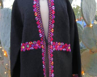 Guatemalan Boiled Wool Jacket with Hand Embroidered Rosettes Size L / XL