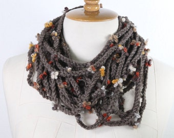 Cable knitting flowers ,Scarf Knit Infinity Scarf, Womens Knit,Cowl scarf