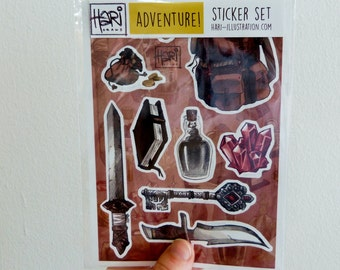 Adventure sticker pack - 9 stickers of illustrated fantasy items