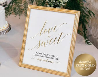 Faux Gold Love is Sweet Sign, Love is Sweet Printable, Dessert Table Sign, Wedding Printable, Wedding Sign, PDF Instant Download #BPB324_43