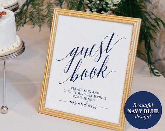 Navy Guest Book Sign Guest Book Wedding Guest Book Ideas