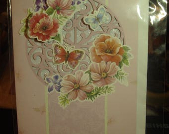 Handmade Card with Butterflies and Flowers