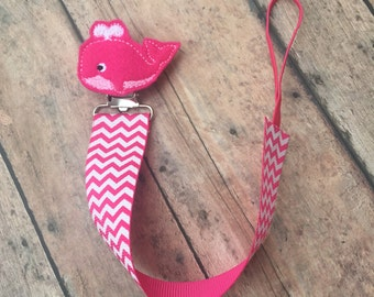 Whale paci clip - Pink and white Pacifier Clip - Pacifier Holder - Pacifier Clip - baby Girl Paci Clip - Binky Holder - Whale - Pink whale