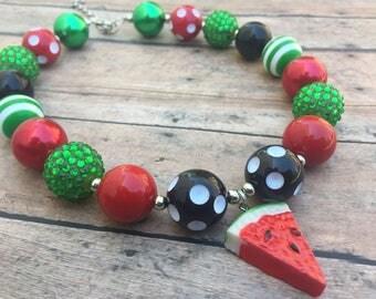 Watermelon Necklace- Necklace - Watermelon - Chunky necklace - Bubblegum Necklace - Toddler necklace - Summer necklace - Juicy Watermelon