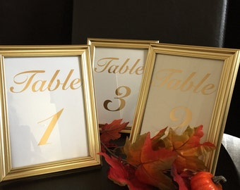 Framed gold table numbers