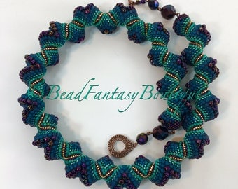 Statement Unique Handcrafted Beadwoven Beaded Peyote Reversible Cellini Peackok Purple Teal Turquoise Spiral Necklace- Free US Shipping