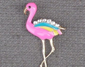 1980s Fantastic FLAMINGO Large ENAMEL Figural BROOCH With Rhinestones...Retro Bird Animal Jewellery...Vintage Kitsch Kawaii Rockabilly Chic!