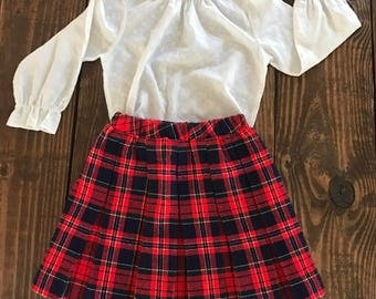 Vintage girls white flocked blouse and plaid skirt. Vintage girls outfit. Size 6x.