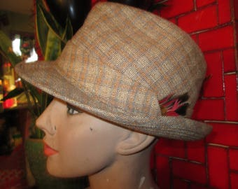 Snappy plaid trilby, size 7 1/4