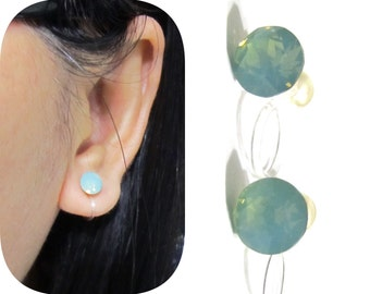 Swarovski Rhinestone Clip on earrings |CS25 Green Opal Comfortable Wedding Clip-on earrings Bridal Clip on Stud earring Non Pierced Earrings