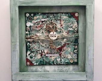 Mixed Media Shadow  Box, Mixed Media Art, wall art, home decor, painting, handmade, one of a kind, art, mixed media collage, Green Key Art