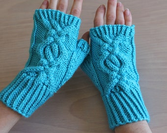 Knit fingerless gloves with cable design