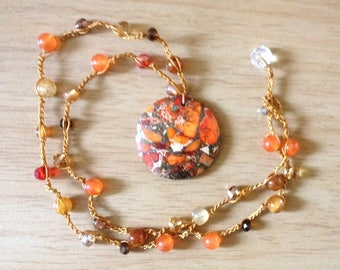 Summer sunshine crochet crystal gemstone & Czech glass beaded necklace with pendant