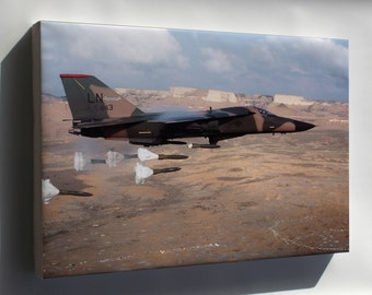 Canvas 24x36; F-111 Aardvark Dropping Mark 82 High-Drag Bombs