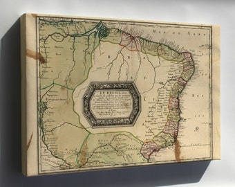 Canvas 24x36; Map Of Brazil 1656