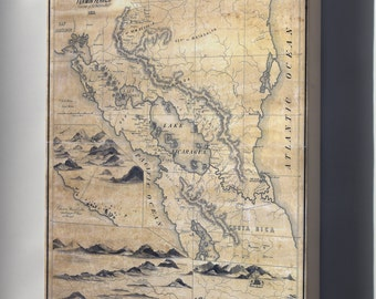 Canvas 24x36; Geographical Map Of Nicaragua 1855