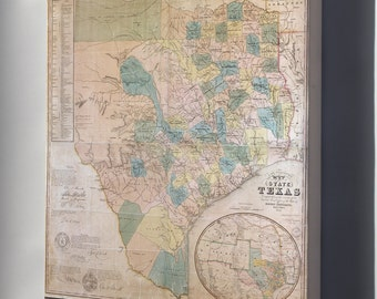 Canvas 16x24; Map Of The State Of Texas 1853