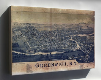 Canvas 16x24; Map Of Greenwich, New York 1885